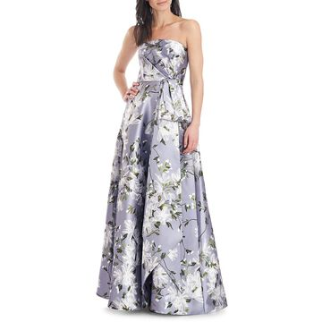 THEIA Slate Floral Strapless Ball Gown