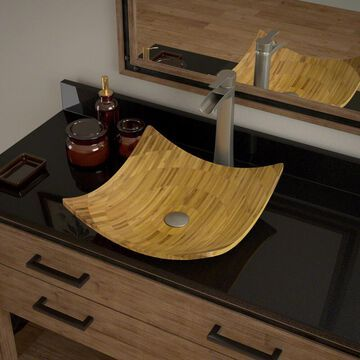 MR Direct Bamboo Vessel Square Bathroom Sink with Faucet (Drain Included) (16.13-in x 16.13-in) in Brown | 892-731-BN