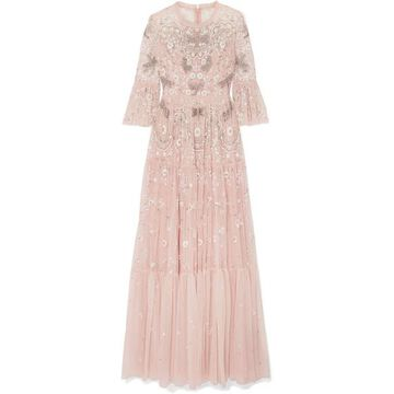 Needle & Thread - Dragonfly Garden Embellished Embroidered Tulle Gown - Blush