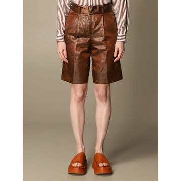 Peserico high-waisted shorts in linen and coated cotton