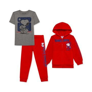 Little Boys 3-Pc. Snoopy Hoodie, T-Shirt & Joggers Set