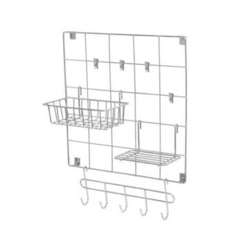 Honey Can Do 8-Piece Chrome Wire Wall Grid with Storage Accessories