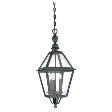 Townsend, Outdoor Pendant, 3 Light, Natural Bronze Finish, Clear Glass