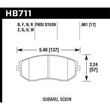 Hawk 13 Subaru BRZ / 13 Scion FR-S HPS Front Street Brake Pads