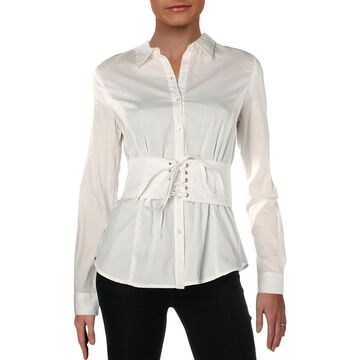 XOXO Womens Cotton Corsetted Button-Down Top