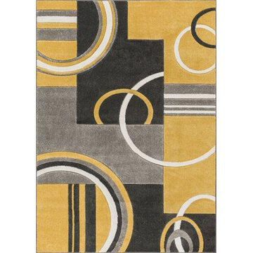 Well Woven Ruby Galaxy Waves Modern Gold Area Rug