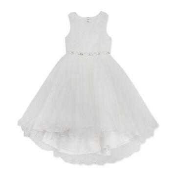 Little Girls High-Low Beaded Mesh Dress