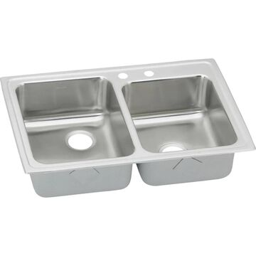 Elkay Gourmet Drop-In 33-in x 22-in Lustrous Highlighted Satin Double Offset Bowl 2-Hole Kitchen Sink with Drainboard Stainless Steel   LR2502