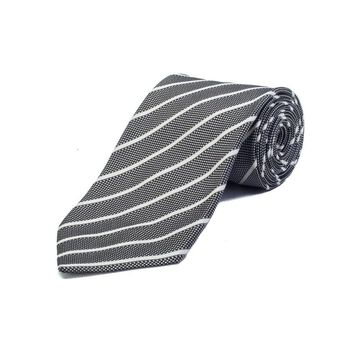 Ermenegildo Zegna Couture Men's Silk Striped Tie Black White - No Size