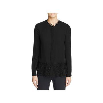 Elie Tahari Womens Constance Blouse Silk Scalloped