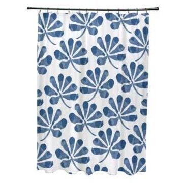 Eva Floral Print Shower Curtain (Navy Blue)