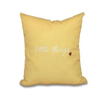 Little Things 16 Inch Yellow Decorative Word Print Throw Pillow