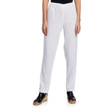 Plus Size Tissue Linen Slim-Leg Pants