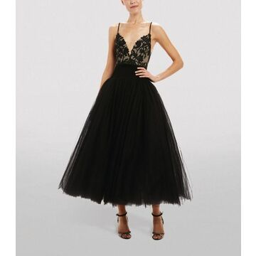 Monique Lhuillier Lace Embroidered Tulle Dress