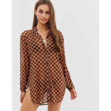 Motel checkerboard mesh beach shirt in tan-Multi