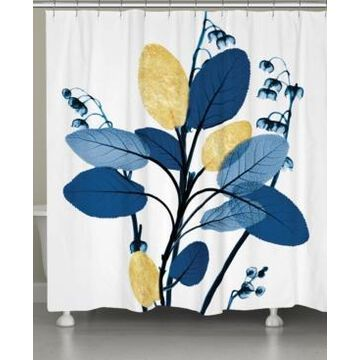 Laural Home Blue and Gilded Leaves Shower Curtain Bedding