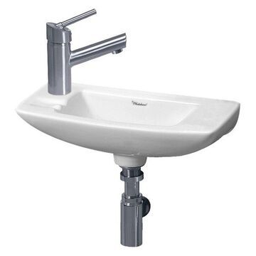 Whitehaus WH1-103L Small Porcelain Wall Mounted Ceramic Bathroom Basin Sink