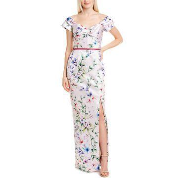 Marchesa Notte Off-Shoulder Printed Mikado Pique Gown