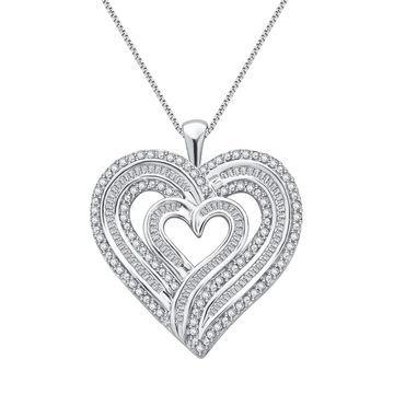 Divina Sterling Silver 1ct TDW Diamond Heart Pendant