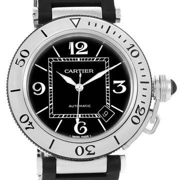 Cartier Men's W31077U2 'Pasha' Black Rubber Watch