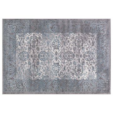Concord Global Thema Vintage Framed Floral Rug, Turquoise/Blue, 2X7 Ft