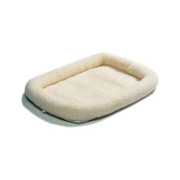 Midwest Quiet Time Fleece Dog Crate Bed, White, 36