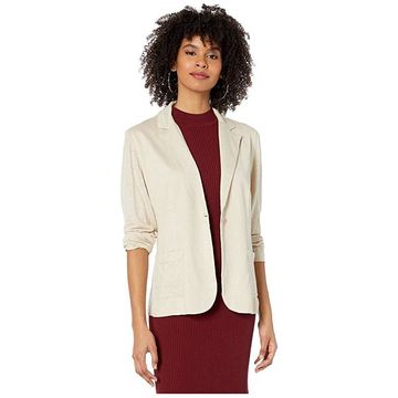 Majestic Filatures Linen/Elastane One-Button Blazer (Sable) Women's Clothing