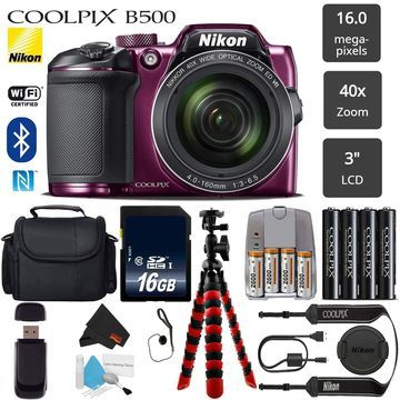 Nikon COOLPIX B500 Digital Camera (Plum) 16MP 40x Optical Zoom with Built-in NFC, WiFi & Bluetooth - Bundle (Intl Model)
