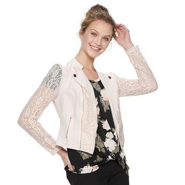 Juniors' Candie's Lace Moto Jacket