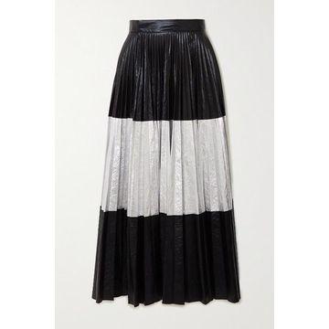 Christopher Kane - Pleated Two-tone Crinkled-lame Maxi Skirt - Black