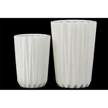 Urban Trends Collection 28615 Porcelain Tapered Flower Vase Corrugated Gloss White Set of Two