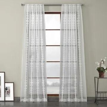 Exclusive Fabrics Cleopatra Embroidered Sheer Curtain Panel (50 X 120 - Cleopatra Cream)