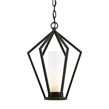 Troy Lighting Whitley Heights Textured Black Transitional Geometric Medium (10-22-in) Pendant Light | F6347