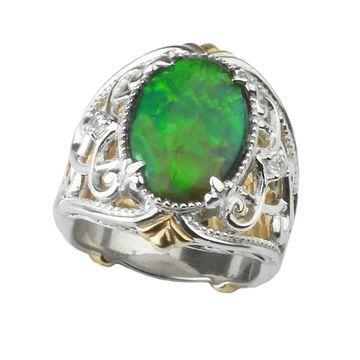 Michael Valitutti Ammolite and Sapphire Ring