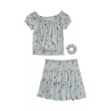 Beautees Girls' Girls 7-16 2 Piece Printed Top And Skirt Set - -