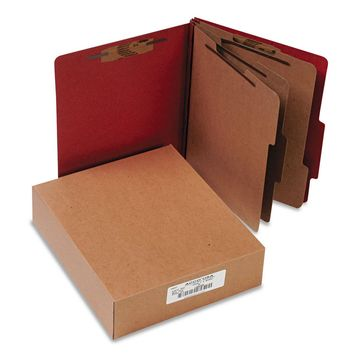 Acco Pressboard 20-Pt Classification Folders Letter 8-Section Earth Red 10/Box