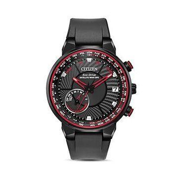 Citizen Satellite Wave World Time Black Gps Watch, 44mm