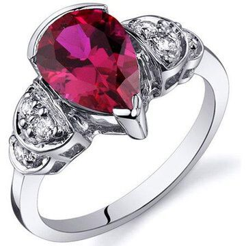 Tear Drop 2.50 carats Ruby Solitaire Engagement Sterling Silver Ring in Sizes 5 to 9 Style SR10182