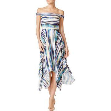 ECI Womens Asymmetric Off The Shoulder Maxi Dress