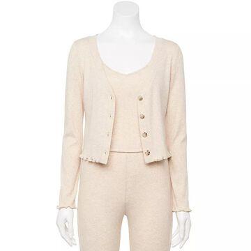 Juniors' WallFlower Cotton Rib Cardigan, Girl's, Size: XL, White
