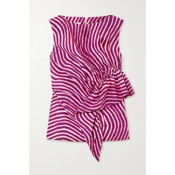 Dries Van Noten - Ruffled Striped Cotton-poplin Top - Pink