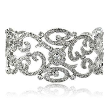 Icz Stonez Sterling Silver or Gold over Silver Cubic Zirconia Swirl Cuff Bracelet