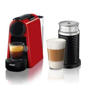 Nespresso by Delonghi Essenza Mini Espresso Machine with Aeroccino in Red