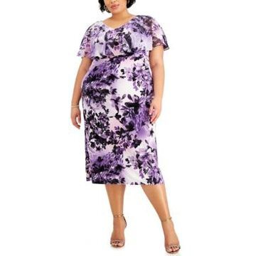 Connected Plus Size Chiffon-Overlay Floral-Print Midi Dress