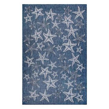 Trans Ocean Carmel Starfish 8415/33 Striped Outdoor Rug, Navy, 7'10