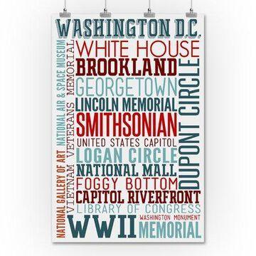 Washington DC - Typography - Lantern Press Artwork (36x54 Giclee Gallery Print, Wall Decor Travel Poster)