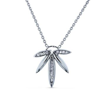Annello by Kobelli 14k White Gold 1/15ct Diamond Fanned Lotus Necklace