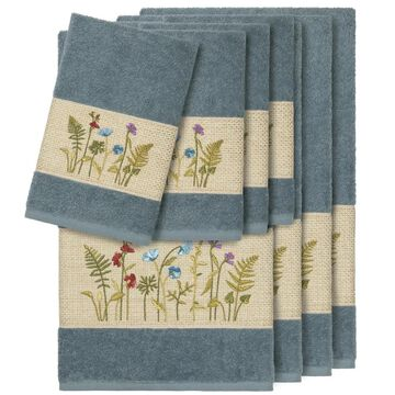 Authentic Hotel and Spa Teal Blue Turkish Cotton Wildflowers Embroidered 8 piece Towel Set