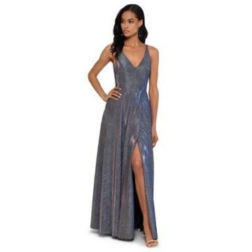 Xscape V-Front Allover-Glitter Gown