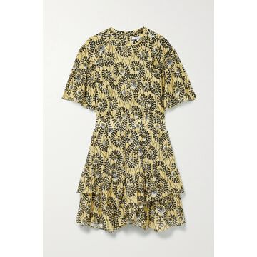 Derek Lam 10 Crosby - Layne Ruffled Printed Cotton-voile Mini Dress - Yellow